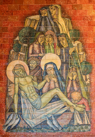 lamentation: FATIMA, PORTUGAL - JULY 23, 2016: Painting of the Lamentation of Christ by Mother Mary at the Sanctuary of Fatima in Portugal.