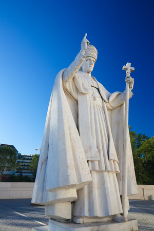 pius: FATIMA, PORTUGAL - JULY 23, 2016: Statue of Pope Pius XII (1876 - 1958) at the Sanctuary of Fatima in Portugal.