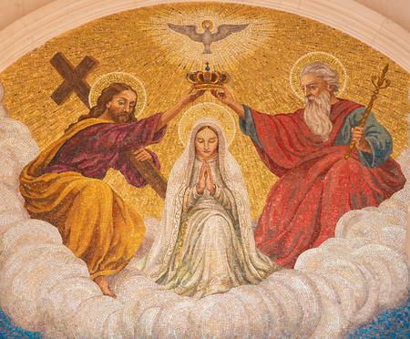 son of god: FATIMA, PORTUGAL - JULY 23, 2016: Painting of the Coronation of Mother Mary by the Holy Trinity at the Sanctuary of Fatima in Portugal.