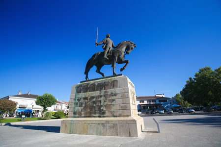 constable: BATALHA, PORTUGAL - JULY 24, 2016: Equestrian statue of Dom Nuno Alvares Pereira at the Monastery of Batalha in Portugal. He was a Portuguese 14th Century general of great success. Editorial
