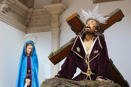 AVEIRO, PORTUGAL - JULY 28, 2016: Statue of Jesus on the Via Dolorosa in the Cathedral of Aveiro, Centro region, Portugal.