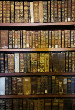 books library: Old books in the library of Coimbra, Portugal