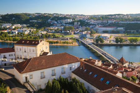 View on the Mondego river and the historic center of Coimbra, Portugal Stock Photo