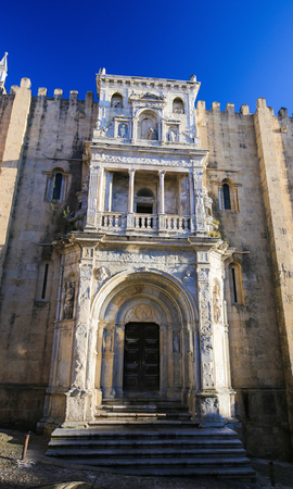 12th century: Renaissance Porta Especiosa on the North facade of the Old Cathedral or Se Velha (12th Century) of Coimbra, Portugal