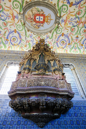 Baroque organ (1733) in the Sao Miguel Chapel or Saint Michael's Chapel in the University of Coimbra, Portugal.