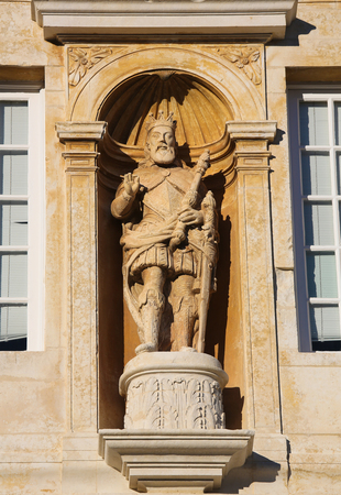 representations: Statue of King John III at the Palace Gate or Iron Gate in the University of Coimbra, Portugal Editorial