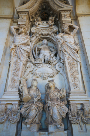 allegorical: Allegorical figures of the University of Coimbra, Portugal.