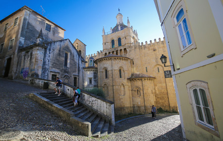 se: Famous Romanesque Old Cathedral or Se Velha (12th Century) of Coimbra, Portugal