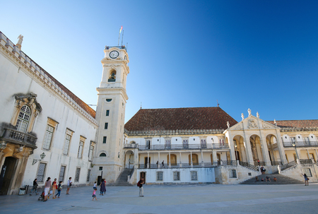 Famous tower at the Courtyard of the University of Coimbra, Portugal. Editorial