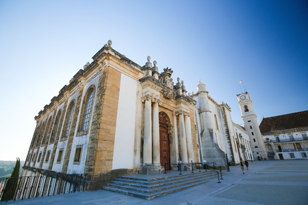 unesco world cultural heritage: Front facade of the Joanina Library (Biblioteca Joanina), a Baroque library in the University of Coimbra, Portugal. Editorial