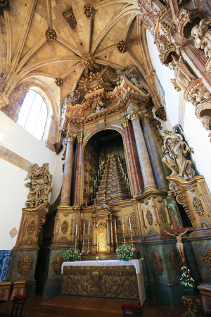 Altar in the Monastery of Santa Cruz, founded in 1131 in Coimbra, Portugal. This church is the burial place of the first two kings of Portugal.