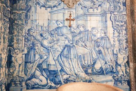 Azulejo in the Monastery of Santa Cruz, founded in 1131 in Coimbra, Portugal. Editorial