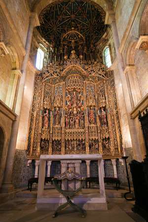 15th century: Magnificent 15th Century retable in the Old Cathedral or Se Velha of Coimbra, Portugal, created by Flemish artists Olivier de Gand and Jean dYpres.