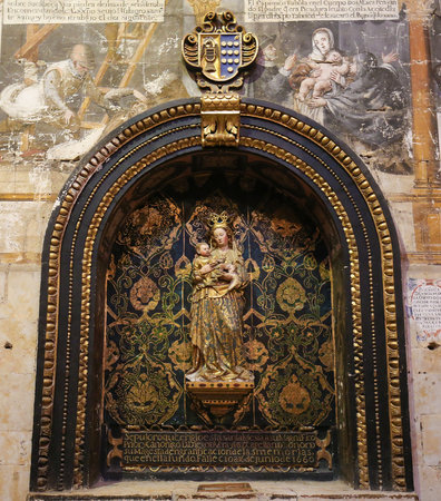 Sculpture of Madonna with Child in the Old Cathedral of Salamanca, Spain.