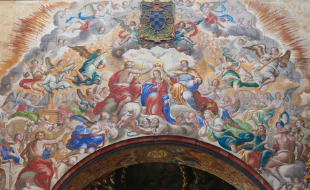 dogma: Fresco of the Trinity crowning Mother Mary, in the Convento de San Esteban, a Dominican monastery in Salamanca, Spain. Editorial