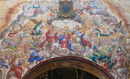 convento: Fresco of the Trinity crowning Mother Mary, in the Convento de San Esteban, a Dominican monastery in Salamanca, Spain. Editorial