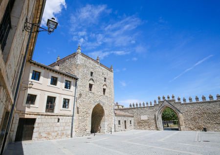 castille: Tower of Alfonso XI and part of the former City Walls at the Abbey of Santa Maria la Real de Las Huelgas, a monastery of Cistercian nuns located near Burgos in Spain. It is the site of many weddings of royal families. Editorial