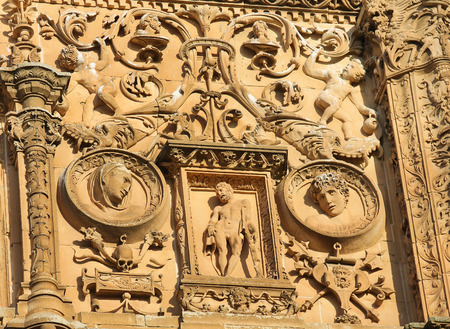 plateresque: Bas relief of Hercules at the Plateresque facade of the University of Salamanca, Spain.