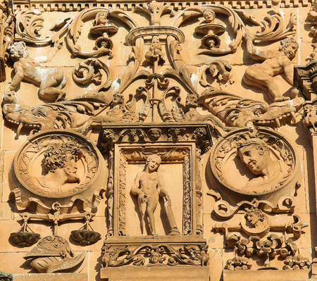 plateresque: Bas relief of Eve at the Plateresque facade of the University of Salamanca, Spain.