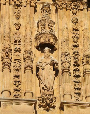 reredos: Statue of Saint Paul carrying the Sword at the facade of the Convento de San Esteban, a Dominican monastery in Salamanca, Spain.