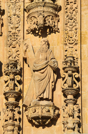 plateresque: Statue of Saint Andrew, on the facade of the Convento de San Esteban, a Dominican monastery in Salamanca, Spain.