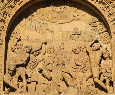 plateresque: Martyrdom of Saint Stephen, bas relief on the facade of the Convento de San Esteban in Salamanca, Spain