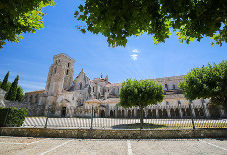 castille: The Abbey of Santa Maria la Real de Las Huelgas is a monastery of Cistercian nuns located near Burgos in Spain. It is the site of many weddings of royal families. Stock Photo