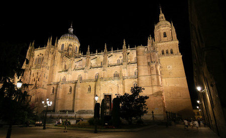 Night view of the illuminated New Cathedral or Catedral Nueva in the historic center of Salamanca, Spain Editorial