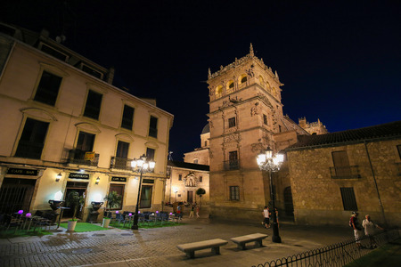 Night view on the illuminated Palacio de Monterrey in Salamanca, Spain, one of the prime examples of the Plateresque architectural style.