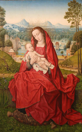 Madonna and Child, painting by Hans Memling (1433-1494) in Burgos Cathedral, Burgos, Castile and Leon. Spain
