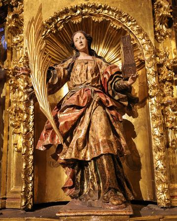 Statue of Saint Barbara in the Church of Saint Thomas in Haro, La Rioja, Spain Stock Photo