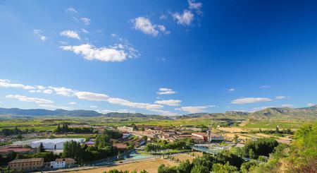 rioja: View on the famous bodegas or wine houses and vineyards of the Rioja Alta wine region near Haro, La Rioja, Spain