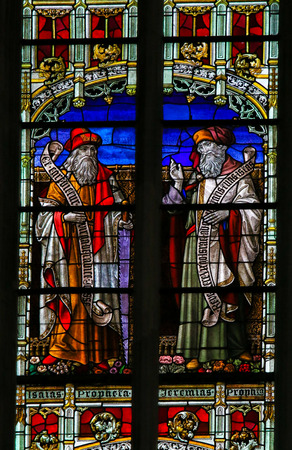 isaiah: Stained Glass window depicting the Old Testament prophets Isaiah and Jeremiah, in the Cathedral of Saint Rumbold in Mechelen, Belgium.