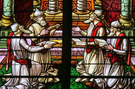 simchat torah: Stained Glass window depicting four Rabbis reading the Torah scrolls, in the Cathedral of Saint Rumbold in Mechelen, Belgium.