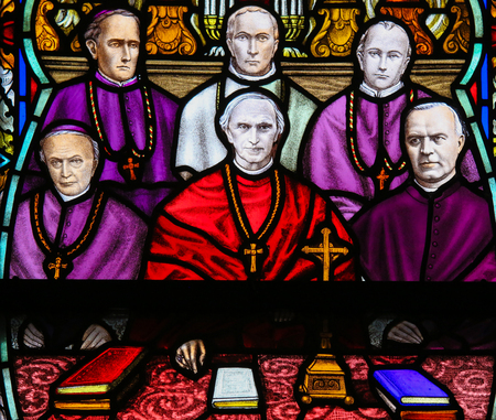 collegue: Stained Glass window depicting Cardinal Mercier (1851 - 1926) and Belgian bishops, in the Cathedral of Mechelen, Belgium. Editorial