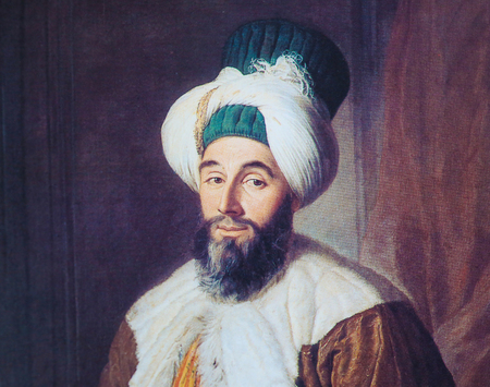 jacques: BRUSSELS, BELGIUM - NOVEMBER 3, 2016: Portrait of Pasha Mehmed Said, painting by Jacques Andre Joseph Aved created in 1742.