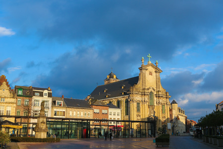 The central Veemarkt or Cattle Market and the baroque Saint Peter and Paul Church in Mechelen, Flanders, Belgium Editorial