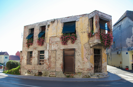 A bombed out house in Vukovar, Croatia, left as a memorial to the Serbo-Croatian war.