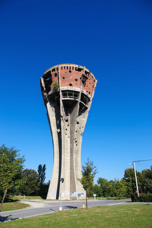 artillery shell: Water Tower in Vukovar, Croatia. During the Battle of Vukovar in 1991, the Water Tower was one of the most frequent targets of artillery and hit more than 600 times.