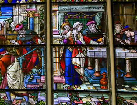 sacramental: Stained Glass depicting the local legend of Jews stealing sacramental bread, in the Cathedral of Mechelen, Belgium. This antisemitic legend dates back to 1370. Editorial