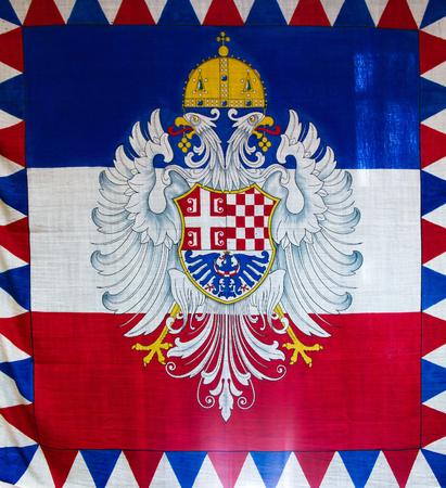 tricolour: The tricolour Serbian Flag in Belgrade, Serbia.