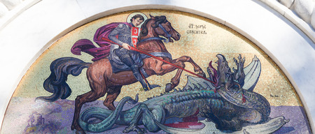 Mosaic of Saint George Slaying the Dragon on the facade of the Church of Saint Sava, a Serbian Orthodox church in Belgrade. Editorial