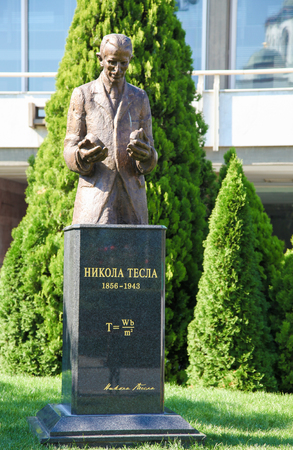 physicist: Statue of Nikola Tesla (1856 -1943), a Serbian-American inventor, electrical engineer, mechanical engineer, physicist, and futurist, in Belgrade, Serbia. Editorial