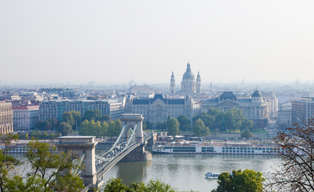 View on the Chain Bridge and St. Stephens Basilica in the center of Budapest on the bank of the Danube, Hungary.