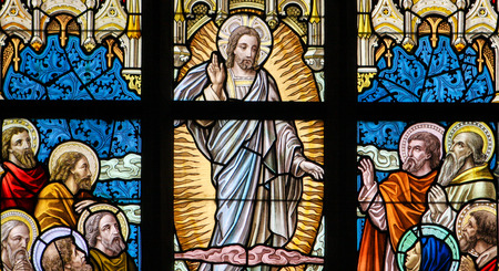 resurrect: Stained Glass window depicting the Ascension of Jesus Christ in the Church of Alsemberg, Belgium.