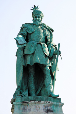 habsburg: Statue of Gabriel Bethlen (de Iktar) (1580 - 1629), a Protestant uncrowned King of Hungary who led an insurrection against the House of Habsburg in Royal Hungary, in Heroes Square in Budapest, Hungary.