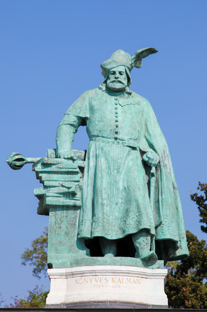 Statue of Coloman the Learned, also the Book-Lover or the Bookish (1070 - 1116), King of Hungary from 1095 and King of Croatia from 1097 until his death, in Heroes Square or Hosok Tere in Budapest, Hungary. Stock Photo