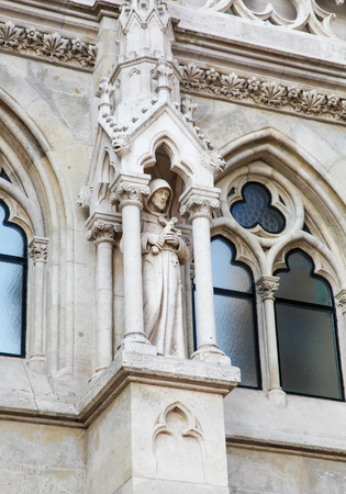 Statue of a Saint at Matthias Church, a Roman Catholic church located in Budapest, Hungary, at the heart of Budas Castle District Editorial