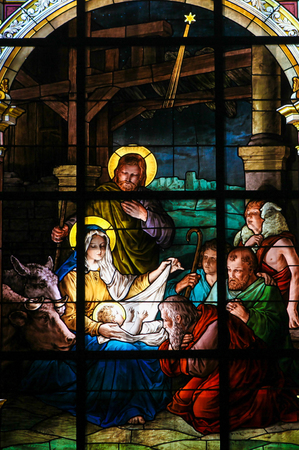 new testament: Nativity Scene at Christmas. Stained glass window in the German Church in Gamla Stan in Stockholm.