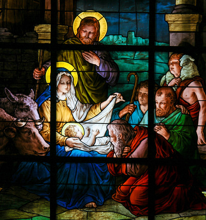 Nativity Scene at Christmas. Stained glass window in the German Church in Gamla Stan in Stockholm.